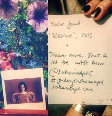 'Plucked this Polaroid out of some flowers in Ely today and found a message! Promotion by curiosity - brilliant.' - @graciec_